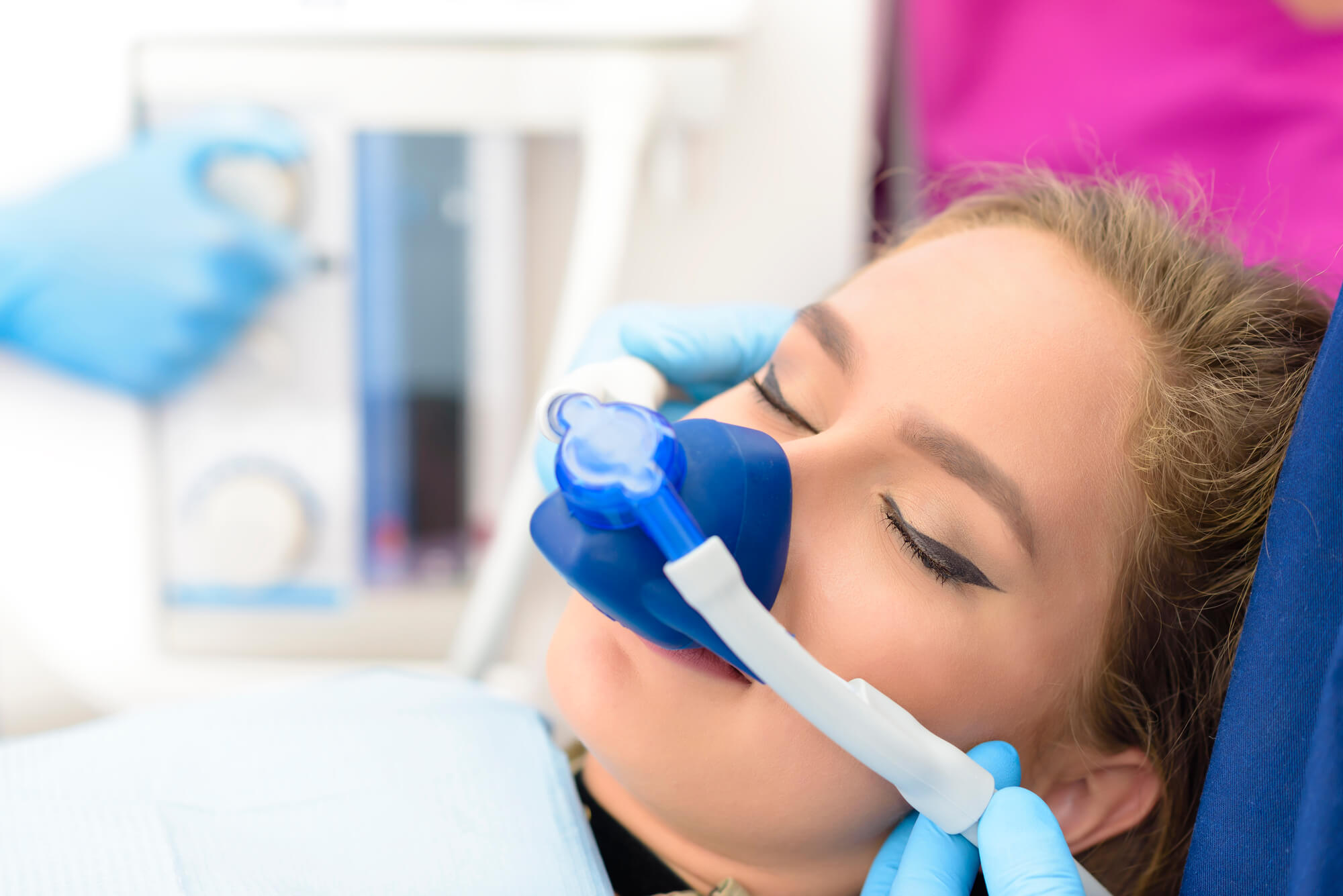 a relaxed patient after receiving help from a nitrous oxide dentist in Naples
